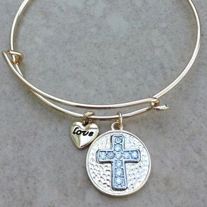 Jewelry - Gold Tone Crystal Cross Charm Bangle Bracelet